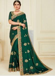 Poly Silk Green Designer Traditional Saree