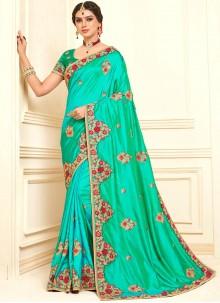 Poly Silk Green Embroidered Designer Saree