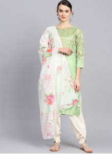 Poly Silk Green Readymade Suit