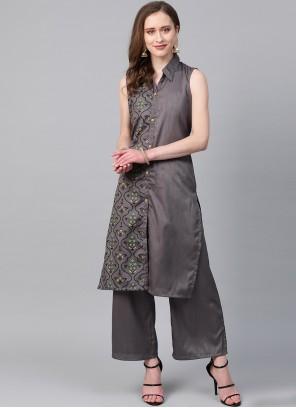Poly Silk Grey Designer Kurti