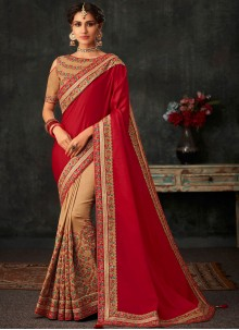 Poly Silk Half N Half Designer Saree in Beige and Red
