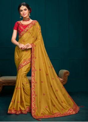Poly Silk Mustard Classic Designer Saree