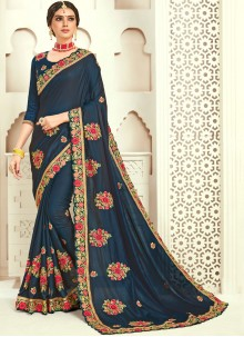 Poly Silk Navy Blue Designer Traditional Saree