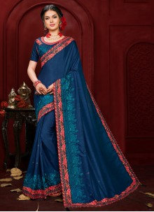 Poly Silk Navy Blue Embroidered Contemporary Saree
