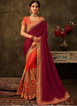 Poly Silk Orange and Purple Patch Border Designer Half N Half Saree