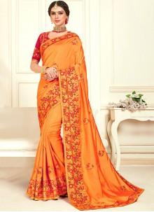 Poly Silk Orange Designer Designer Bridal Sarees