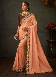 Poly Silk Orange Embroidered Classic Saree