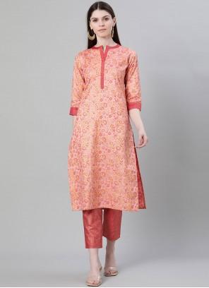 Poly Silk Party Wear Kurti in Peach