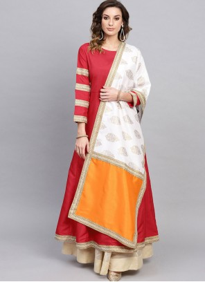 Poly Silk Party Wear Kurti in Red