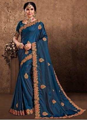 Poly Silk Patch Border Designer Saree in Blue
