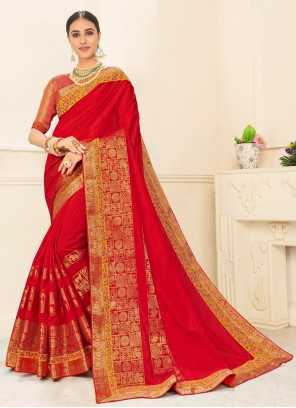 Poly Silk Patch Border Red Traditional Saree
