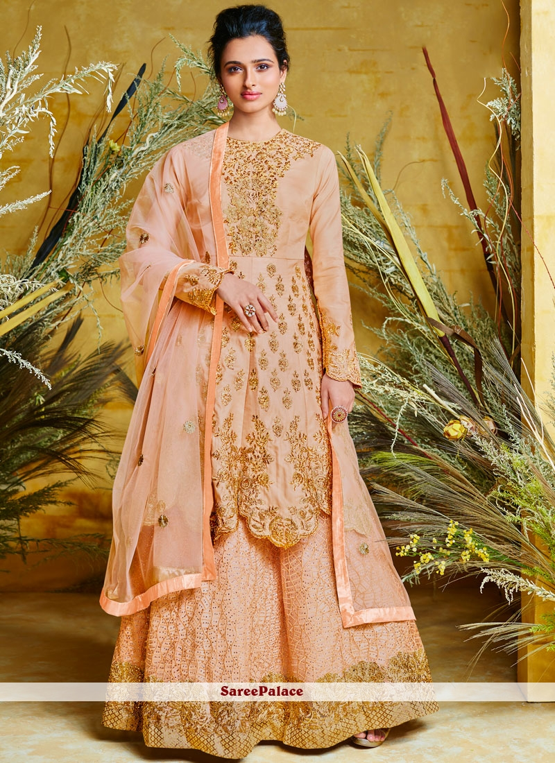 Poly Silk Peach Floor Length Anarkali Suit