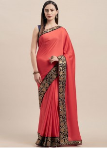 Poly Silk Pink Lace Traditional Saree