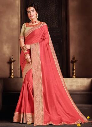 Poly Silk Pink Patch Border Classic Designer Saree