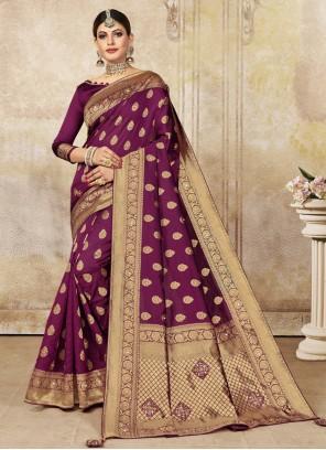 Poly Silk Purple Embroidered Designer Traditional Saree