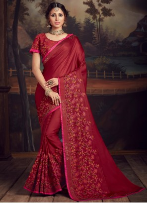 Poly Silk Red Embroidered Traditional Designer Saree