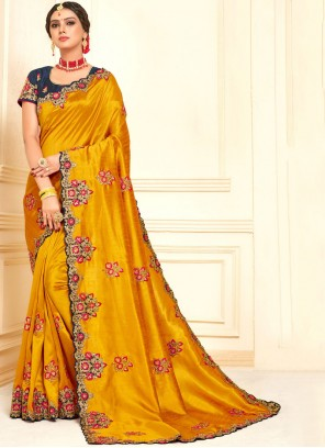 Poly Silk Traditional Designer Saree in Yellow