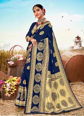 Poly Silk Weaving Blue Trendy Saree