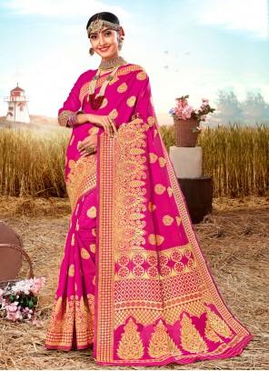 Poly Silk Weaving Pink Traditional Saree