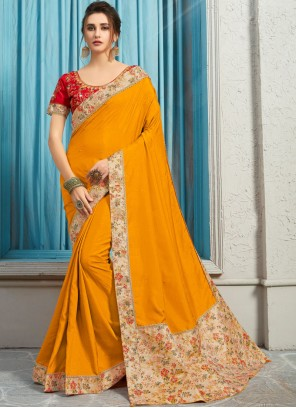 Poly Silk Yellow Embroidered Traditional Designer Saree