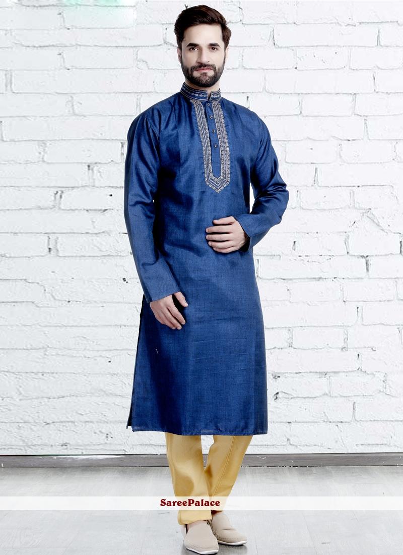 Polyester Blue Kurta Pyjama