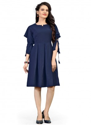 Polyester Party Wear Kurti in Blue