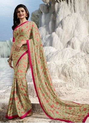 Prachi Desai Abstract Print Multi Colour Faux Georgette Printed Saree