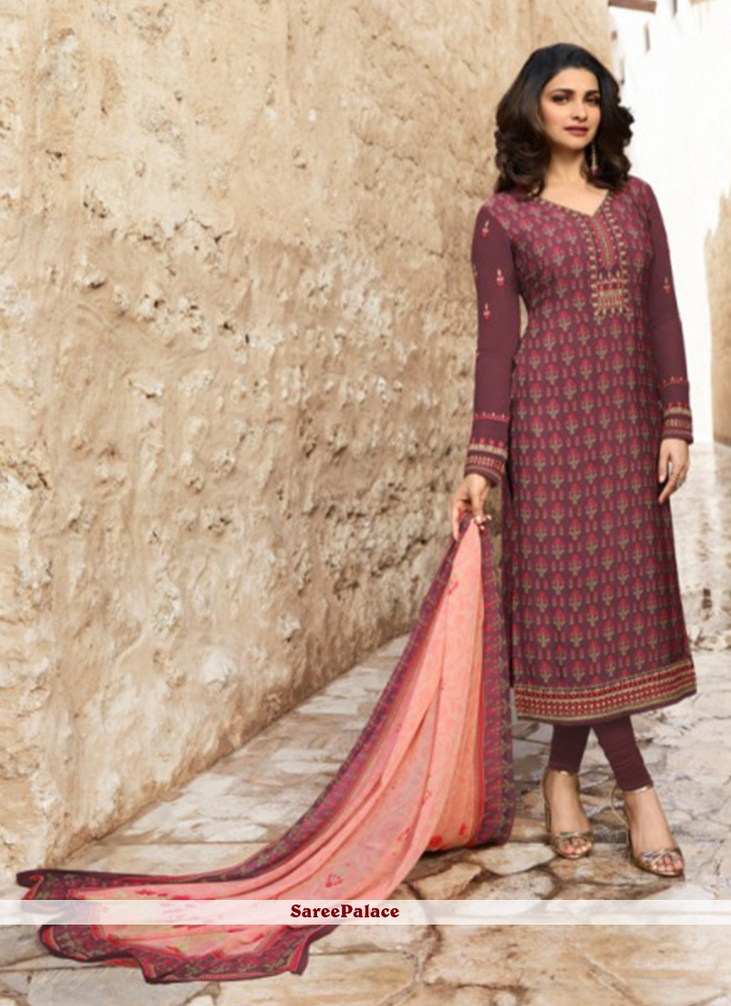c9e266c9a53 Buy Prachi Desai Abstract Print Wine Churidar Designer Suit Online