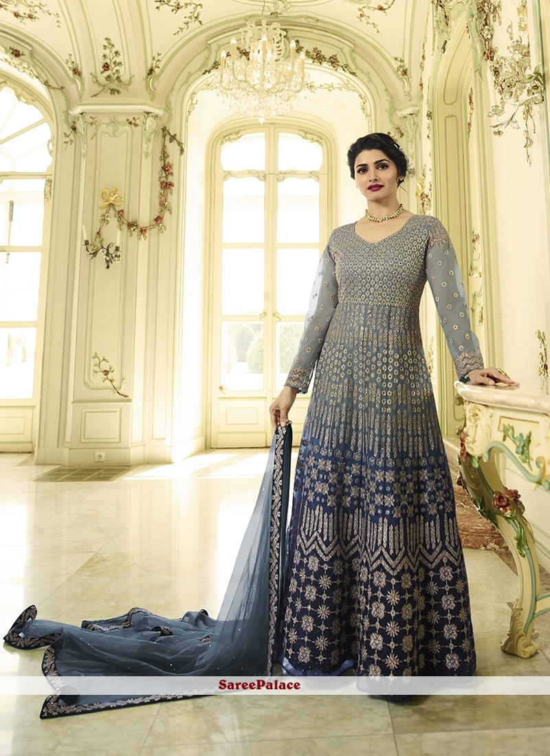 1f549cbbc27 Buy Prachi Desai Blue and Grey Floor Length Anarkali Suit Online