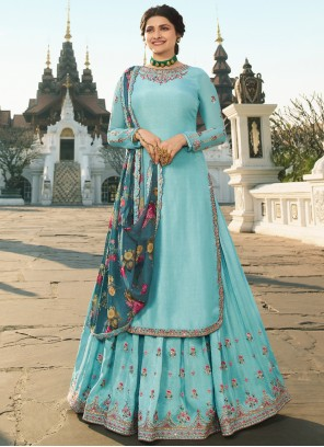 Prachi Desai Blue Muslin Embroidered Long Choli Lehenga