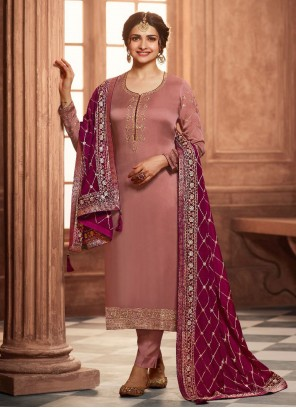 Prachi Desai Brown Embroidered Pant Style Suit