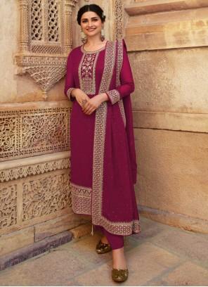 Prachi Desai Magenta Embroidered Designer Suit