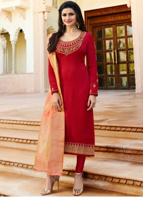 Prachi Desai Embroidered Work Faux Georgette Churidar Designer Suit