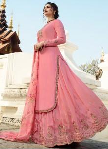 Prachi Desai Fabulous Pink Long Choli Lehenga