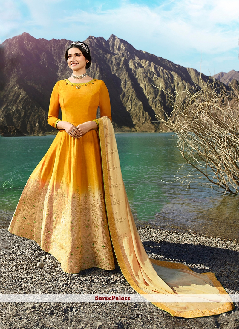 f5aab547eb7 Buy Prachi Desai Fancy Fabric Yellow Embroidered Floor Length Anarkali Suit  Online