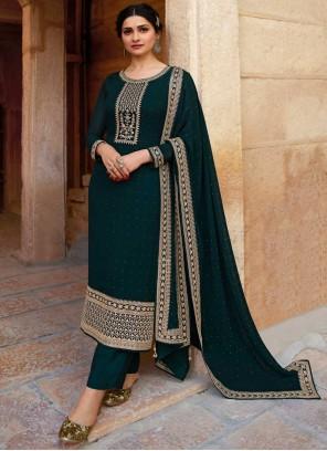 Prachi Desai Green Faux Georgette Festival Designer Suit
