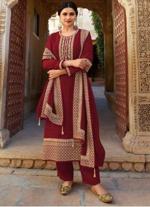 Prachi Desai Faux Georgette Maroon Designer Suit