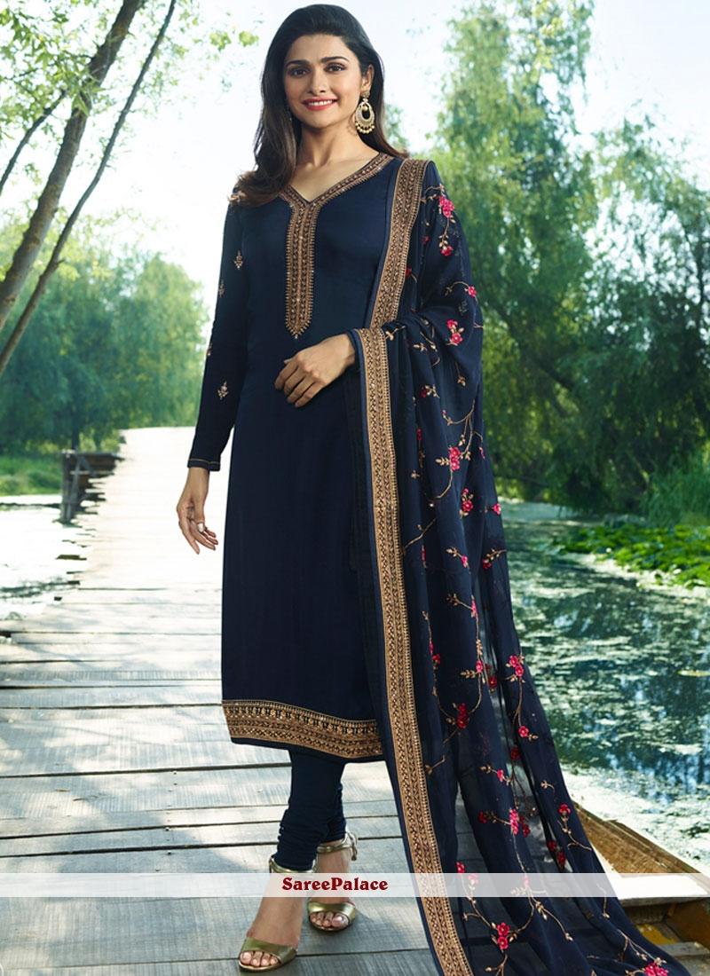 Prachi Desai Glowing Navy Blue Churidar Designer Suit