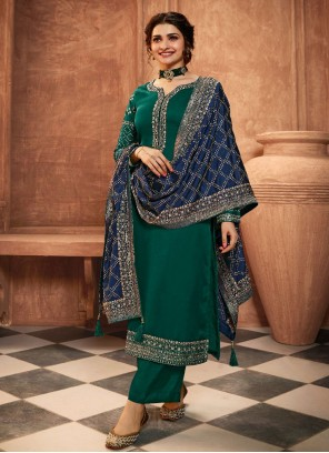 Prachi Desai Green Georgette Satin Embroidered Pant Style Suit
