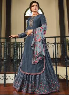 Prachi Desai Grey Muslin Embroidered Long Choli Lehenga