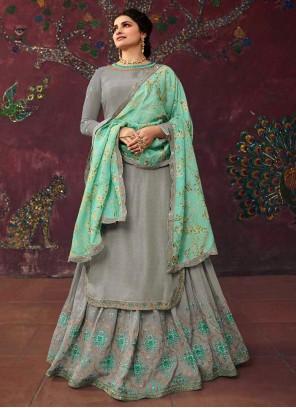 Prachi Desai Grey Sangeet Long Choli Lehenga