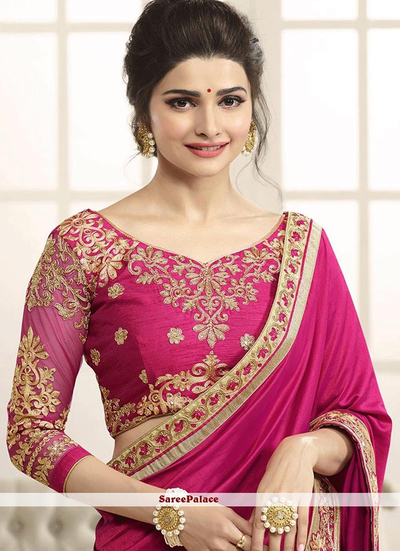 f3ce65fc154 Buy Prachi Desai Hot Pink Art Silk Designer Saree Online