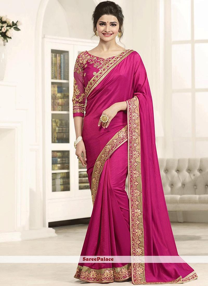 95cc99a2d5d8b8 Buy Prachi Desai Hot Pink Art Silk Designer Saree Online