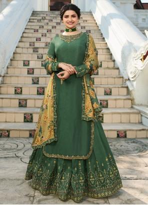 Prachi Desai Muslin Green Long Choli Lehenga