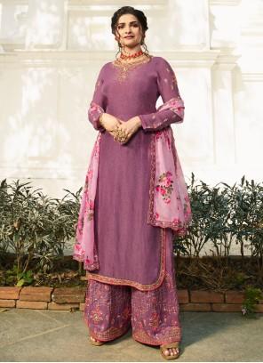 Prachi Desai Muslin Purple Stone Work Designer Palazzo Salwar Kameez
