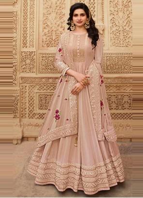 Prachi Desai Peach Silk Floor Length Anarkali Suit