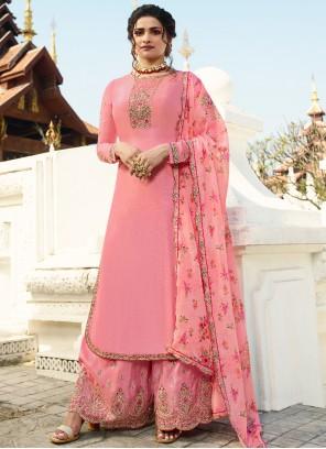 Prachi Desai Pink Designer Palazzo Suit