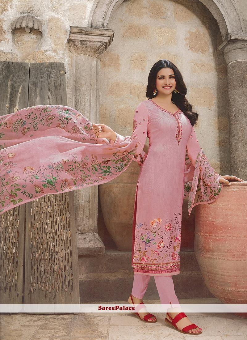 Prachi Desai Pink Festival Churidar Designer Suit