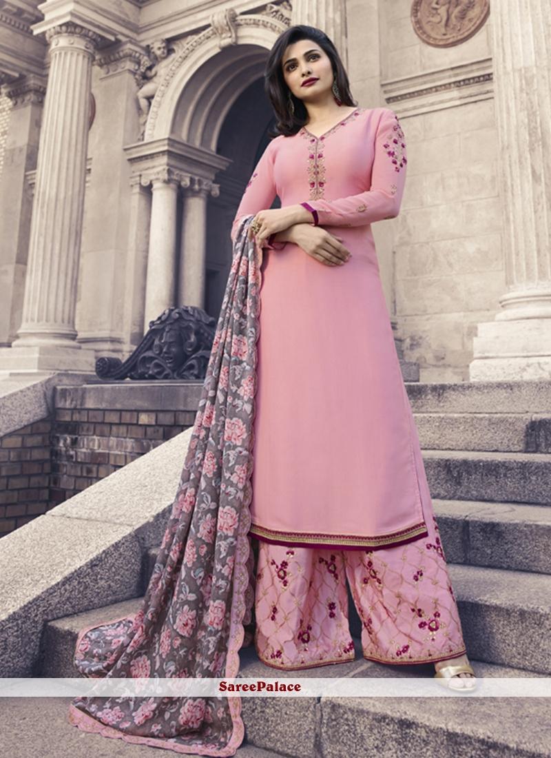 Prachi Desai Pink Satin Embroidered Long Choli Lehenga