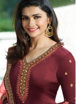 Prachi Desai Pretty Maroon Churidar Designer Suit